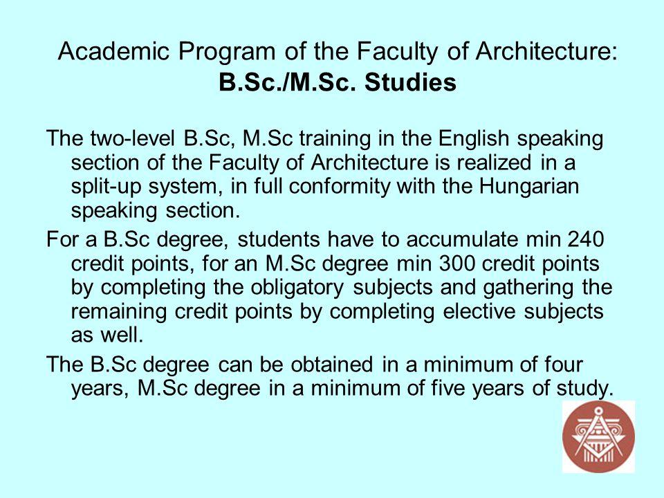 Academic Program of the Faculty of Architecture: B.Sc./M.Sc. Studies