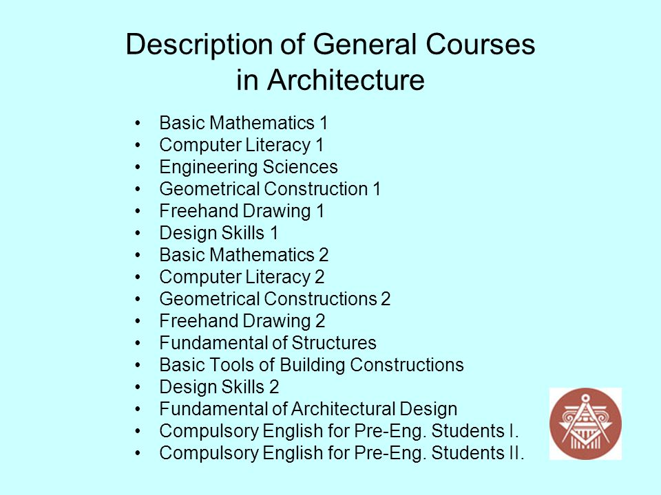 Description of General Courses in Architecture