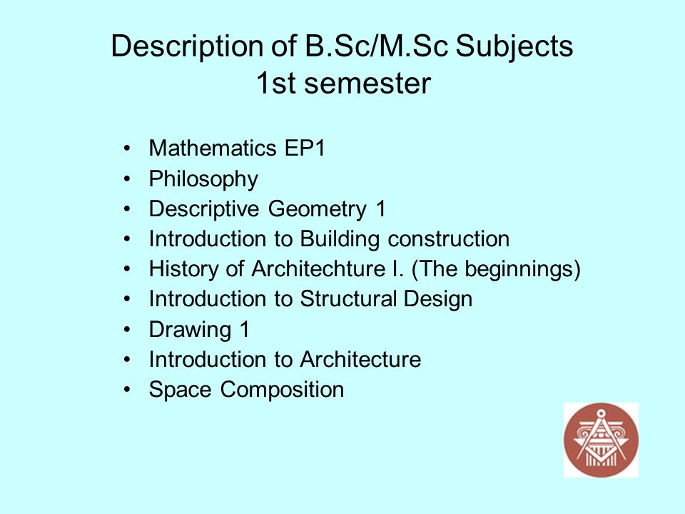 Description of B.Sc/M.Sc Subjects 1st semester