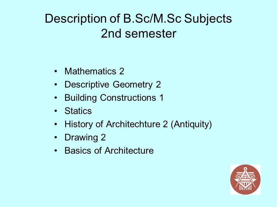 Description of B.Sc/M.Sc Subjects 2nd semester