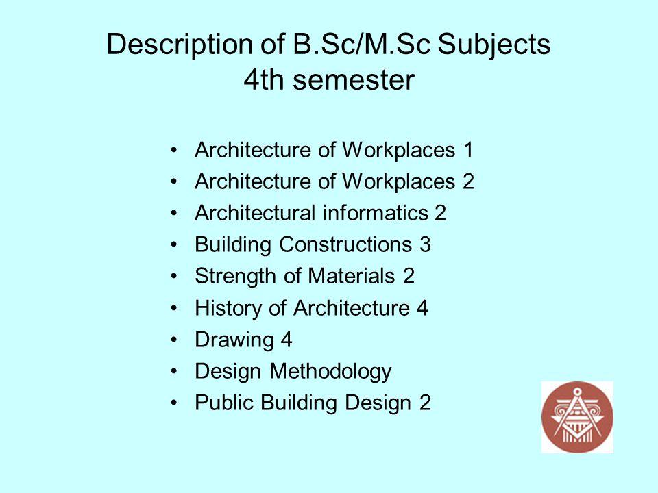 Description of B.Sc/M.Sc Subjects 4th semester