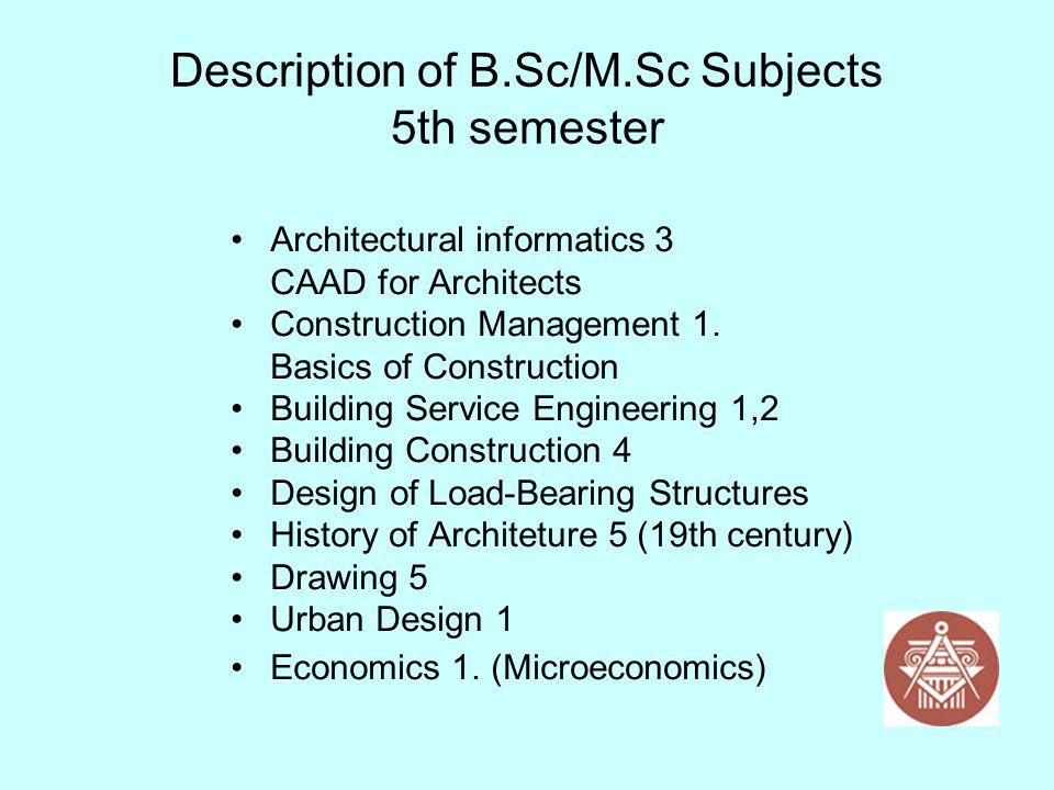 Description of B.Sc/M.Sc Subjects 5th semester