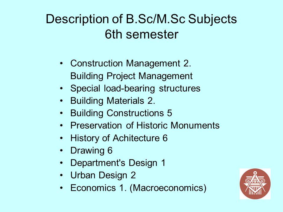 Description of B.Sc/M.Sc Subjects 6th semester