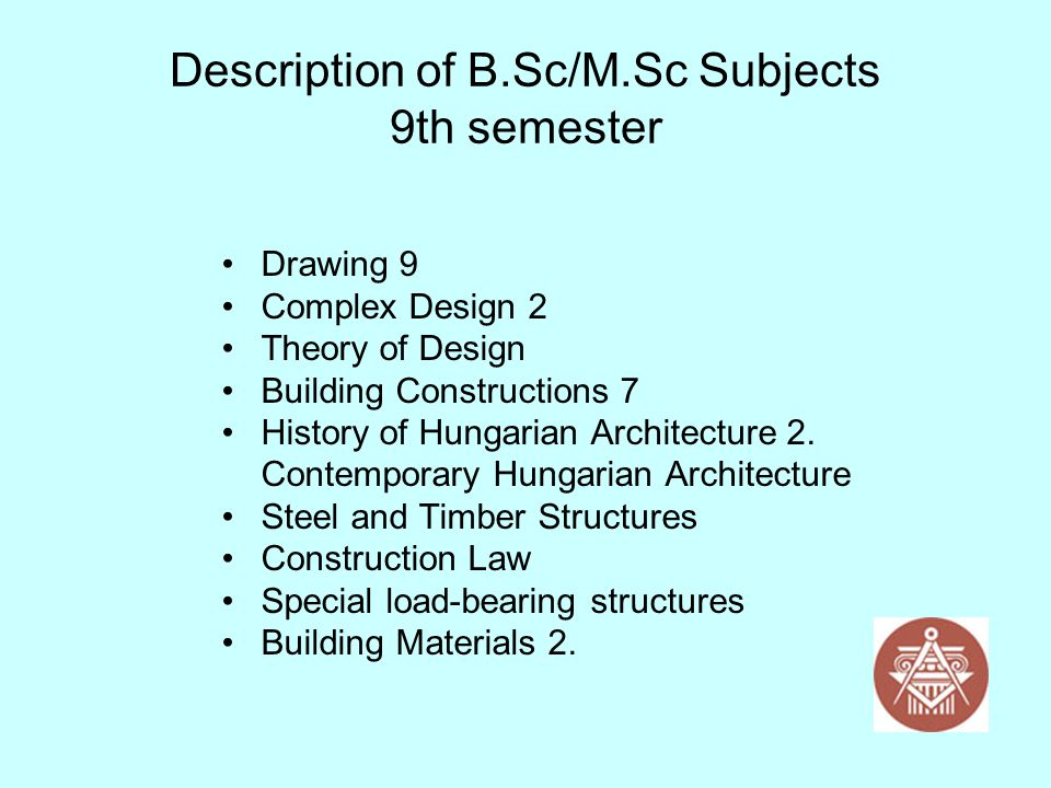 Description of B.Sc/M.Sc Subjects 9th semester