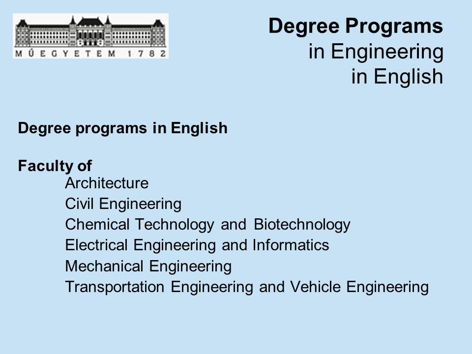 Degree Programs in Engineering in English
