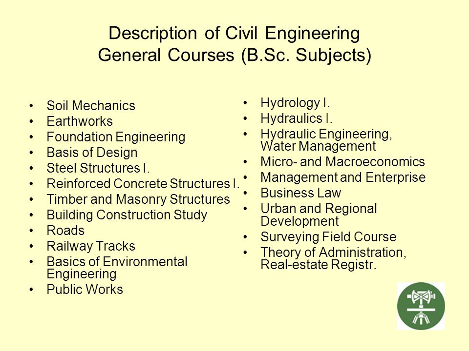 Description of Civil Engineering General Courses (B.Sc. Subjects)