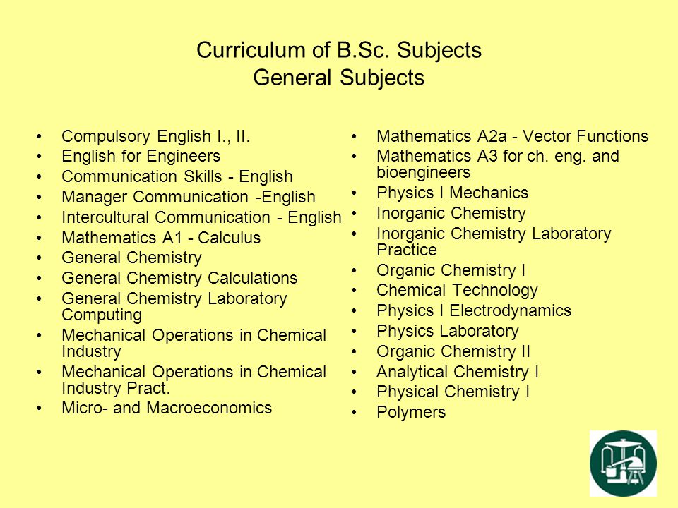 Curriculum of B.Sc. Subjects General Subjects