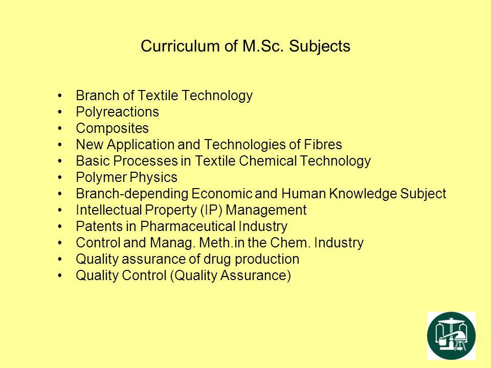 Curriculum of M.Sc. Subjects