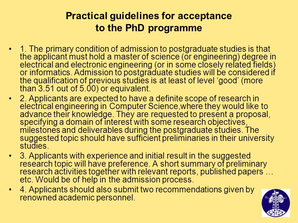 Practical guidelines for acceptance to the PhD programme