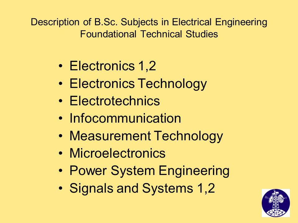 Electronics Technology Electrotechnics Infocommunication
