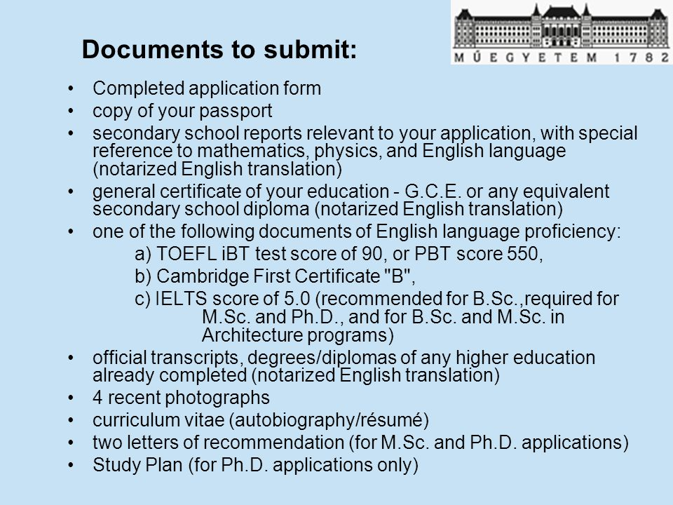 Documents to submit: Completed application form copy of your passport