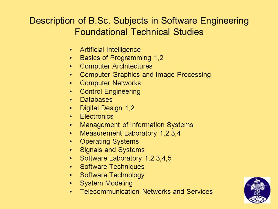 Description of B.Sc. Subjects in Software Engineering Foundational Technical Studies