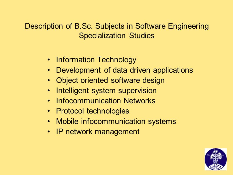 Description of B.Sc. Subjects in Software Engineering Specialization Studies