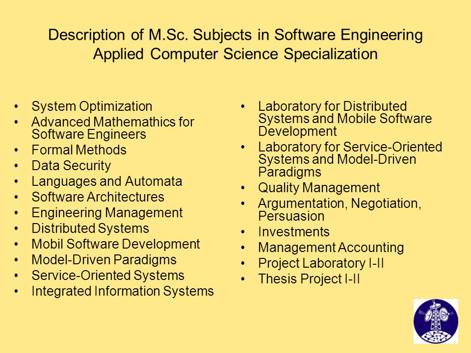 Description of M.Sc. Subjects in Software Engineering Applied Computer Science Specialization