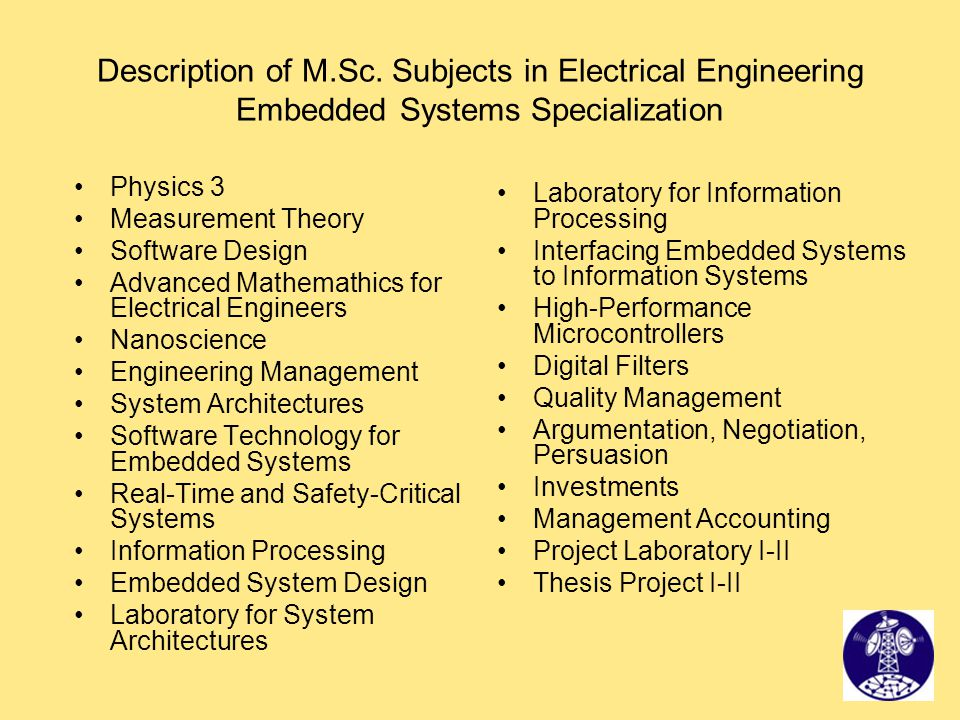 Description of M.Sc. Subjects in Electrical Engineering Embedded Systems Specialization