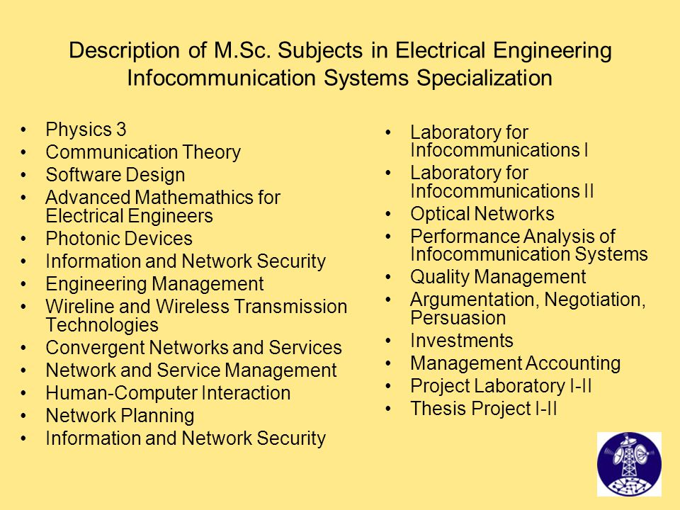 Description of M.Sc. Subjects in Electrical Engineering Infocommunication Systems Specialization