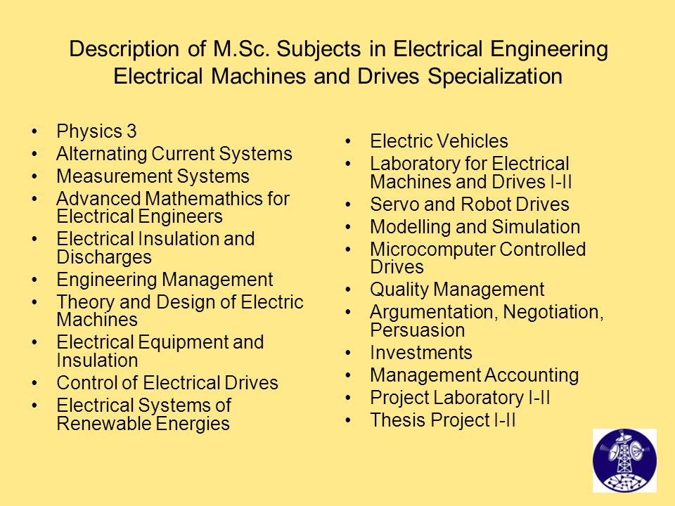 Description of M.Sc. Subjects in Electrical Engineering Electrical Machines and Drives Specialization