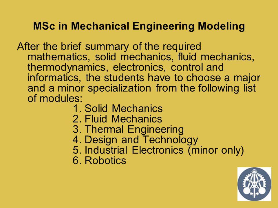 MSc in Mechanical Engineering Modeling
