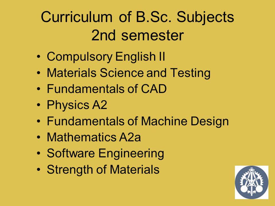 Curriculum of B.Sc. Subjects 2nd semester