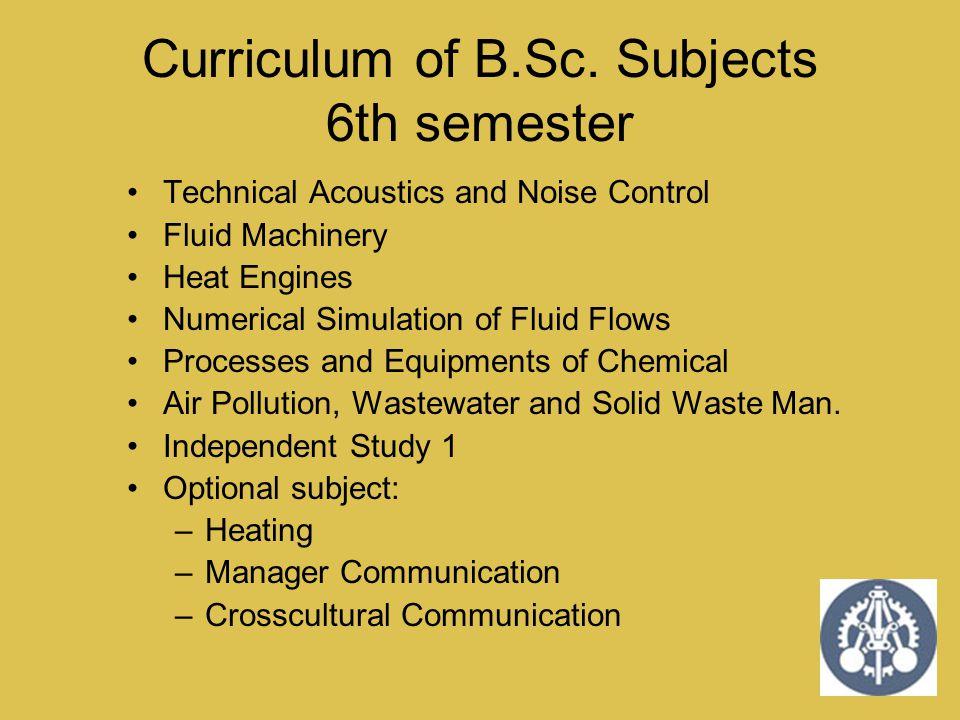 Curriculum of B.Sc. Subjects 6th semester
