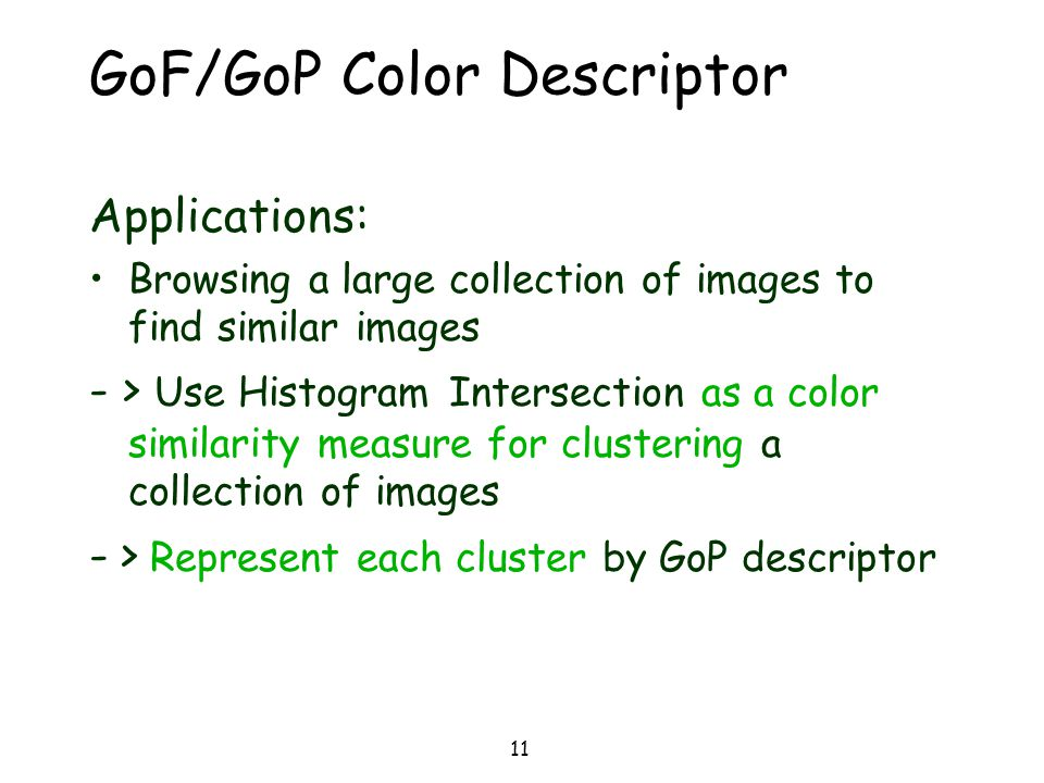 GoF/GoP Color Descriptor