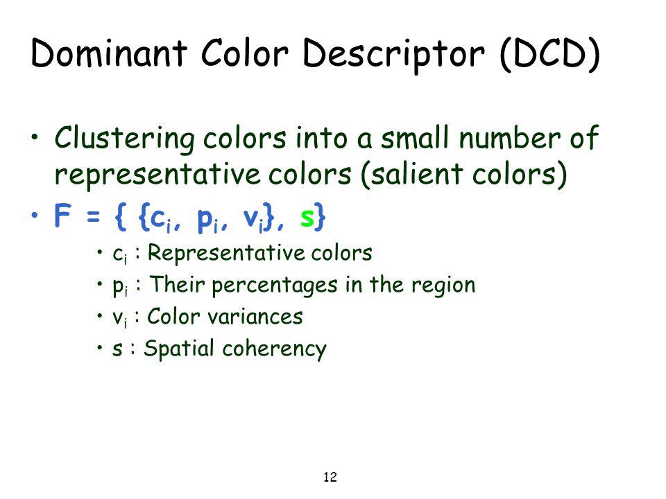 Dominant Color Descriptor (DCD)