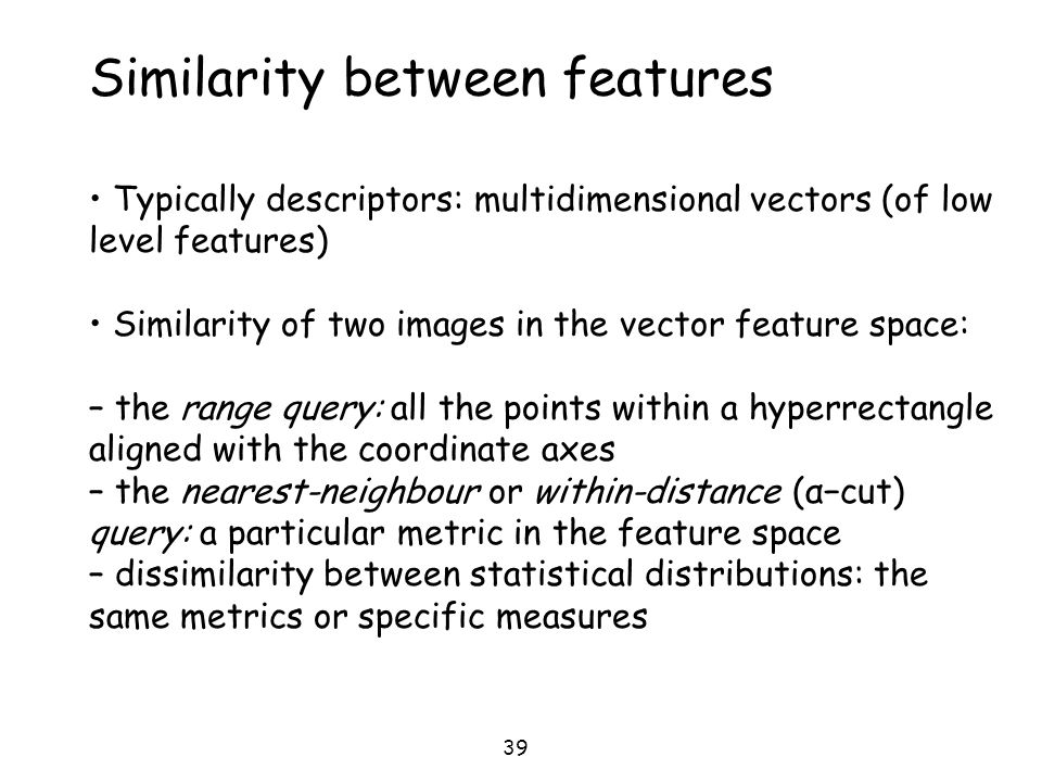 Similarity between features