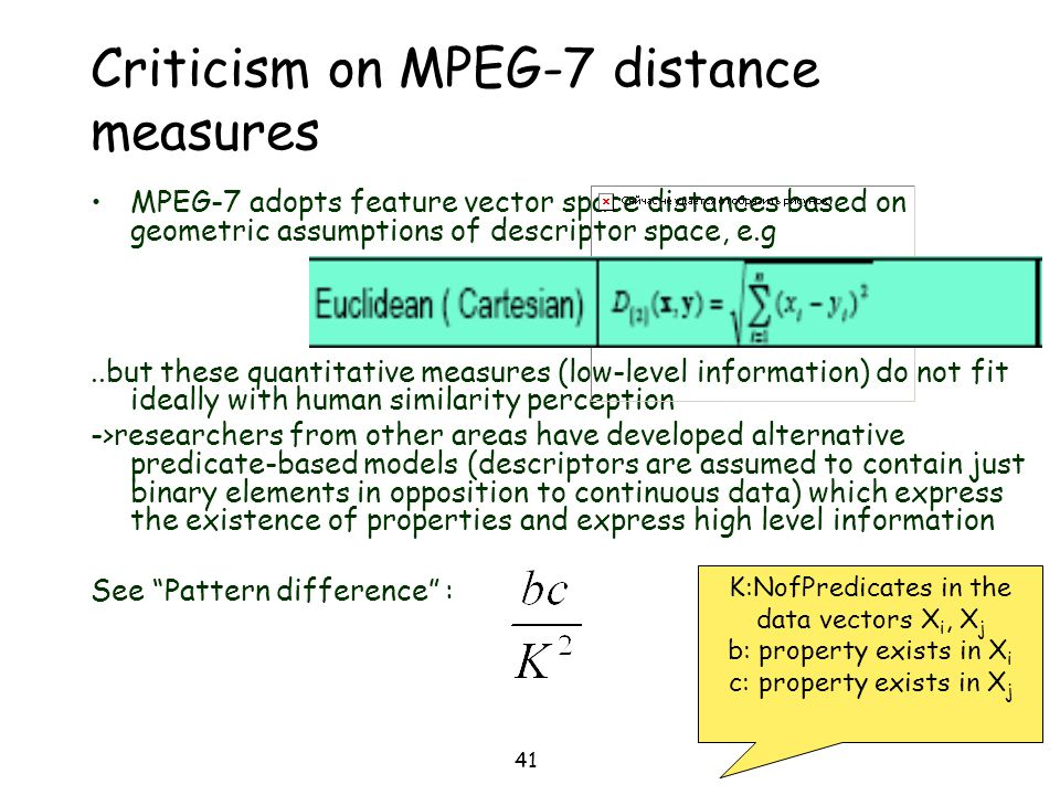Criticism on MPEG-7 distance measures