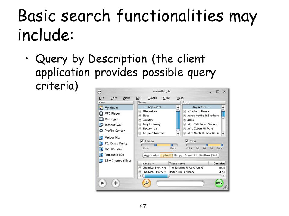 Basic search functionalities may include: