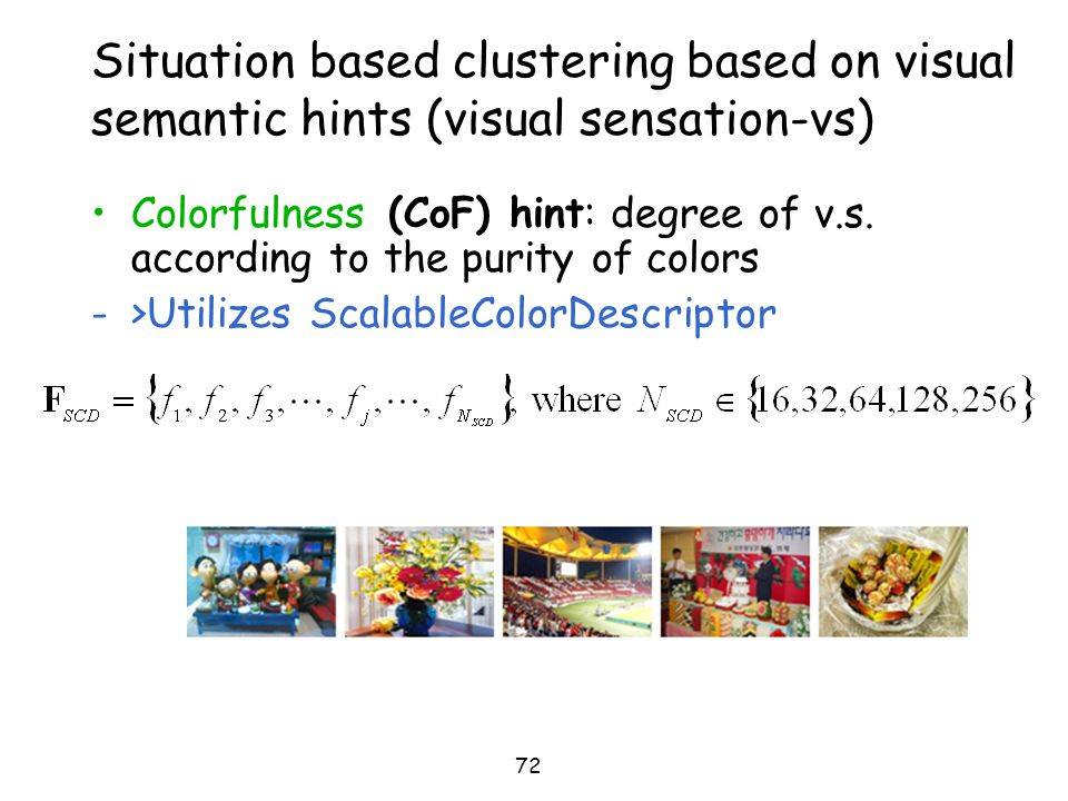 Situation based clustering based on visual semantic hints (visual sensation-vs)