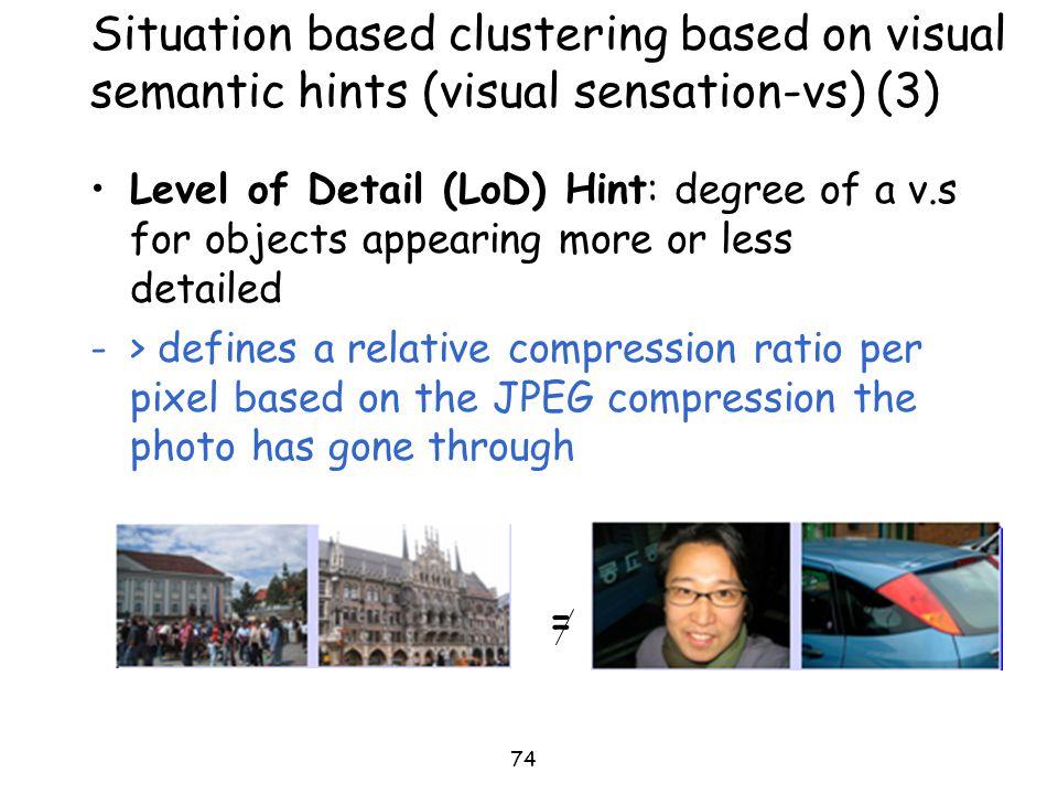 Situation based clustering based on visual semantic hints (visual sensation-vs) (3)