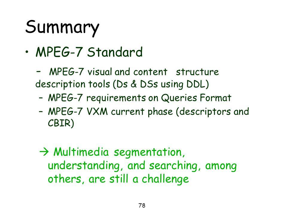 Summary MPEG-7 Standard