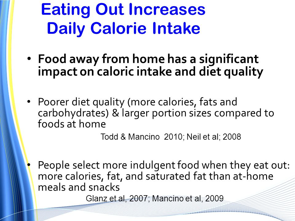 Eating Out Increases Daily Calorie Intake