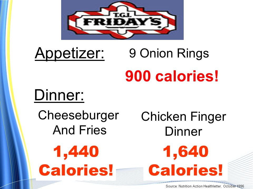 Appetizer: 900 calories! Dinner: 1,440 Calories! 1,640 Calories!