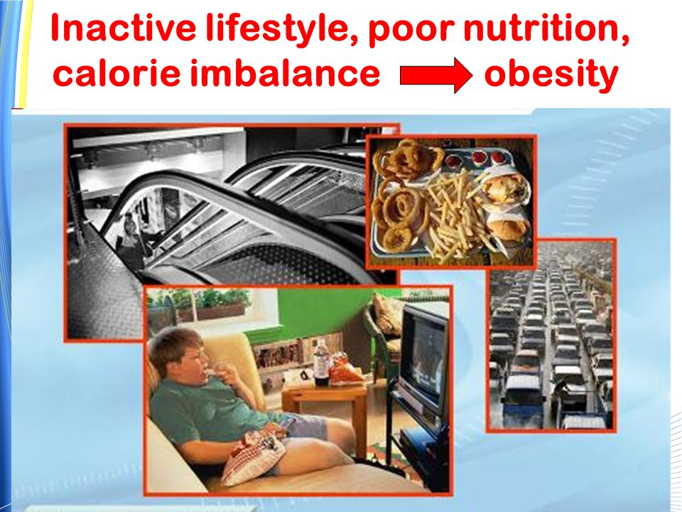 Inactive lifestyle, poor nutrition, calorie imbalance obesity