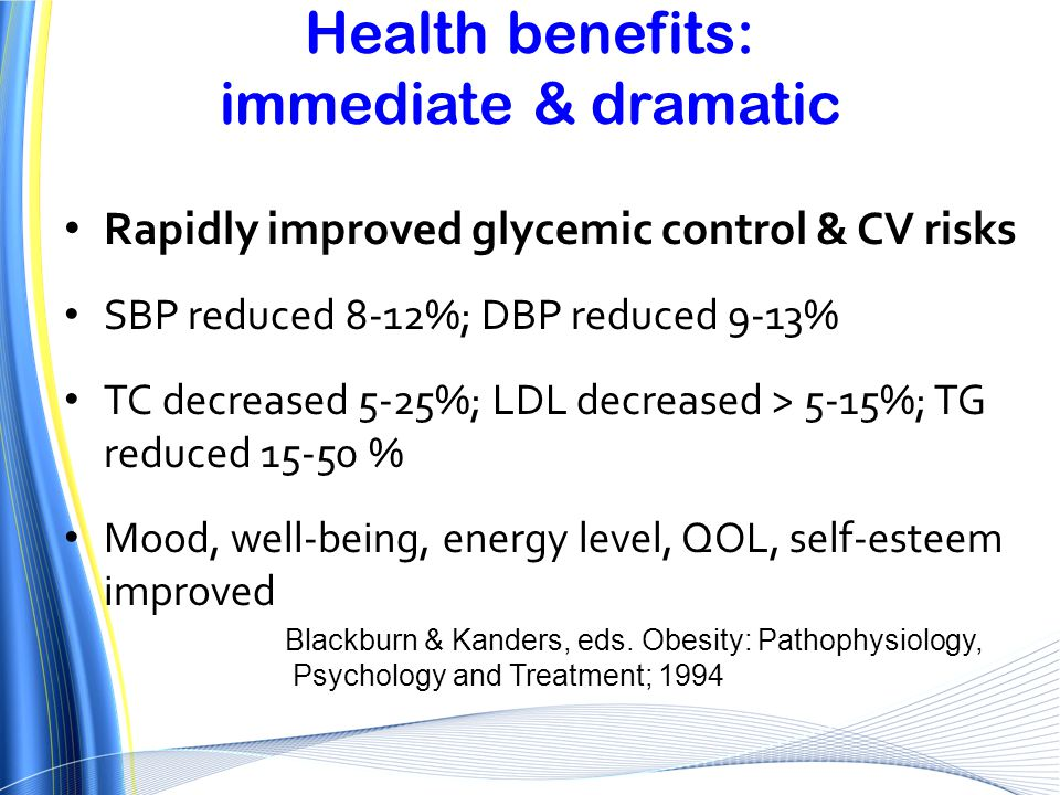 Health benefits: immediate & dramatic