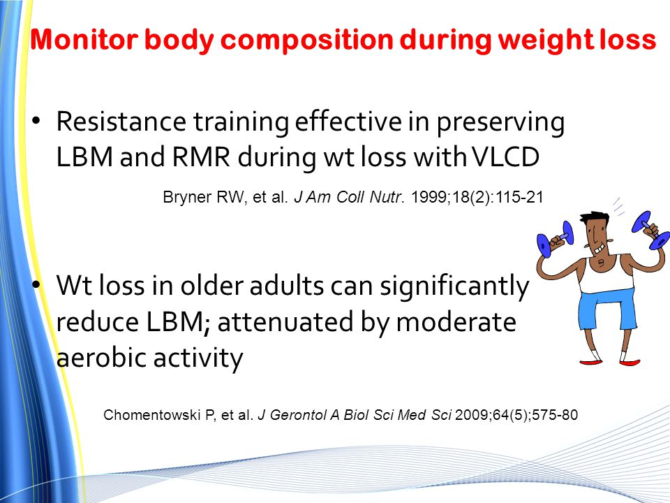 Monitor body composition during weight loss