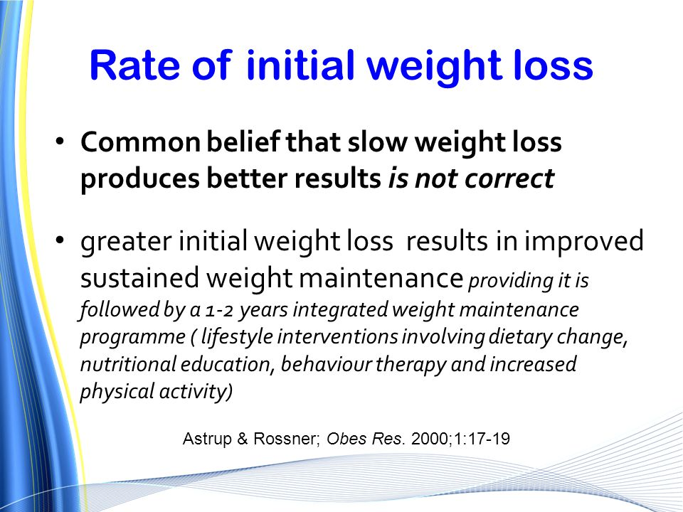 Rate of initial weight loss