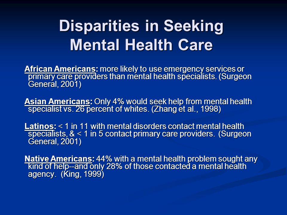 Disparities in Seeking Mental Health Care