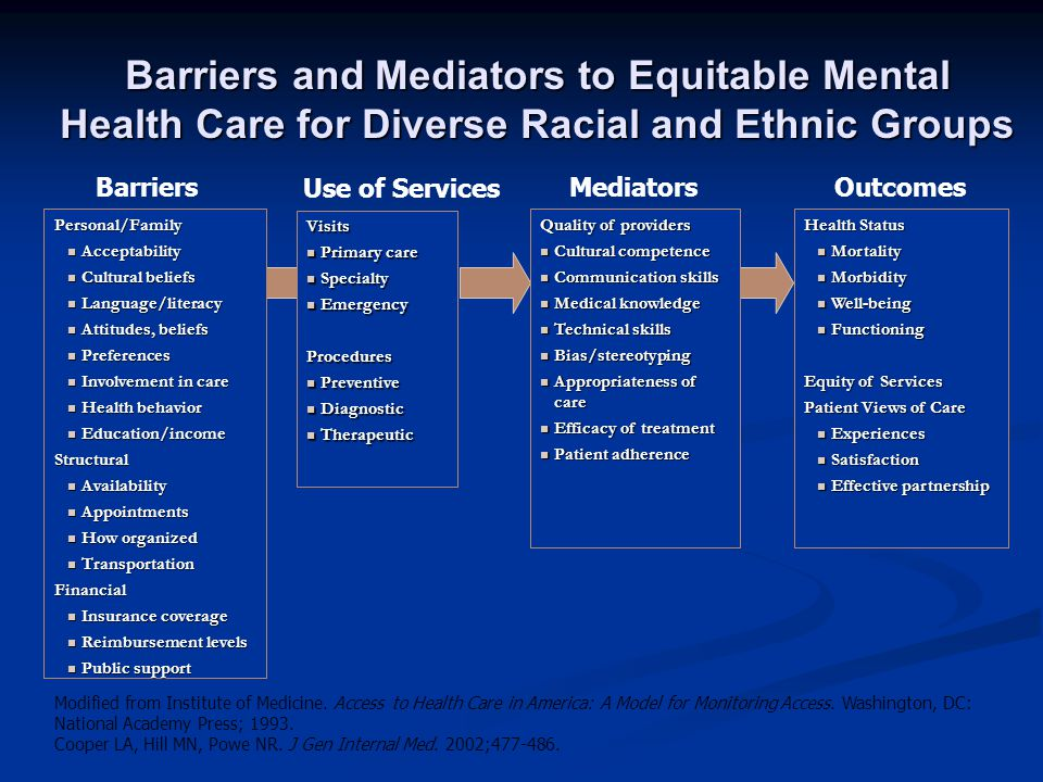 Barriers and Mediators to Equitable Mental Health Care for Diverse Racial and Ethnic Groups