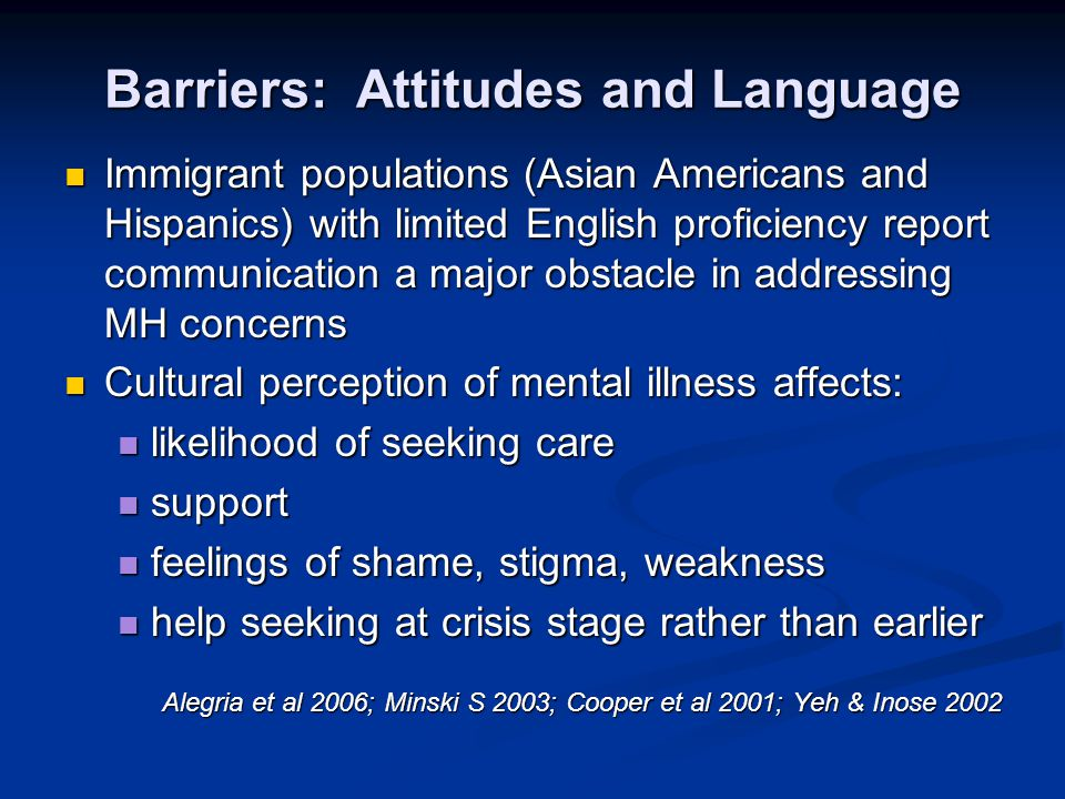Barriers: Attitudes and Language