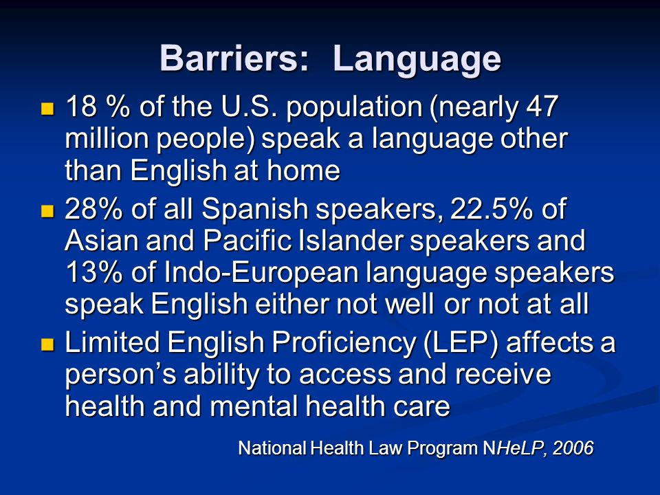 Barriers: Language 18 % of the U.S. population (nearly 47 million people) speak a language other than English at home.