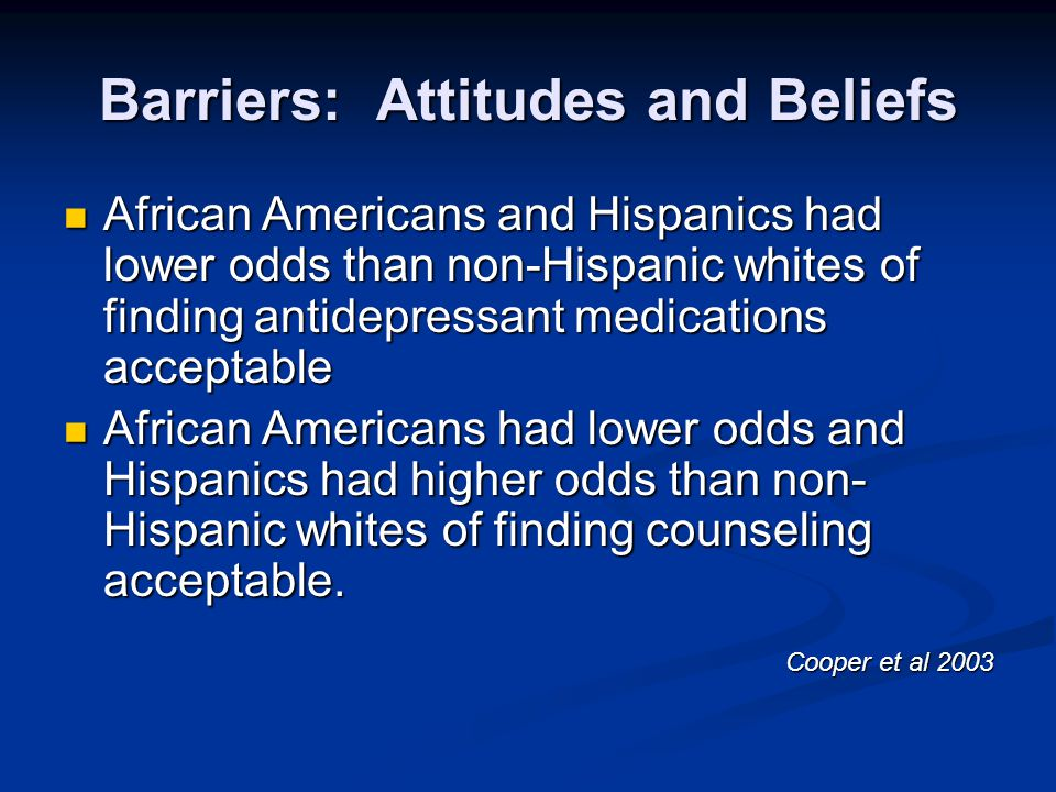 Barriers: Attitudes and Beliefs