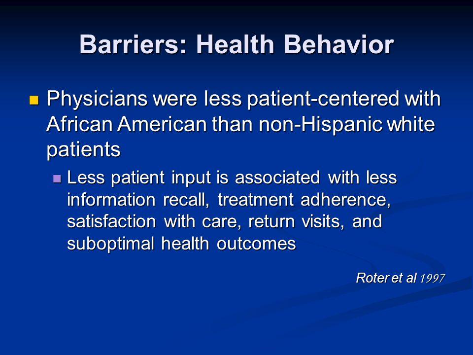 Barriers: Health Behavior