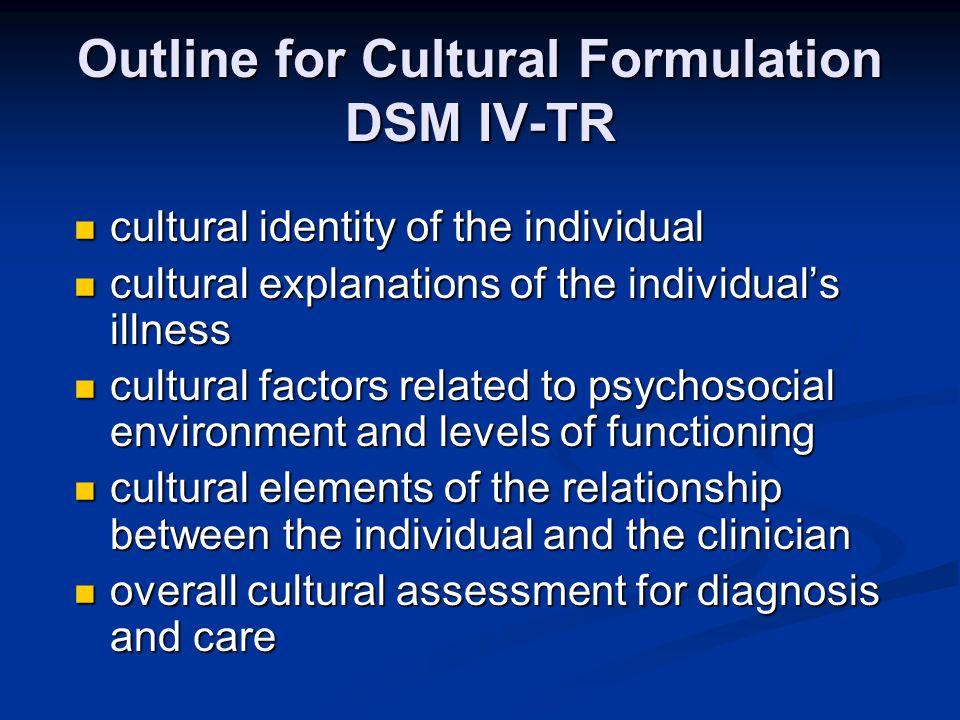Outline for Cultural Formulation DSM IV-TR