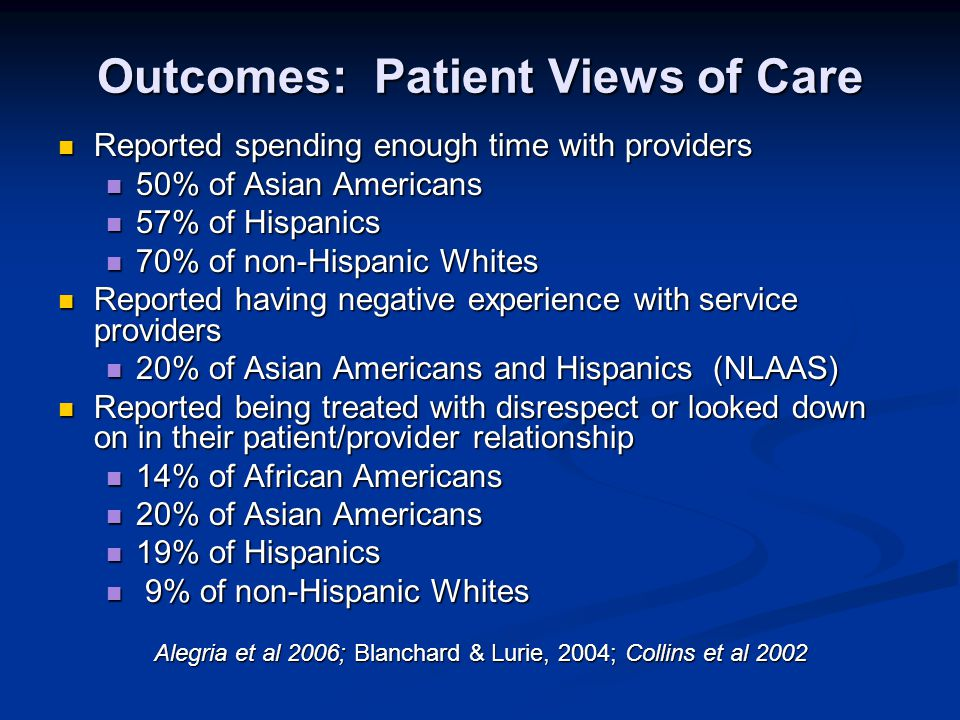 Outcomes: Patient Views of Care