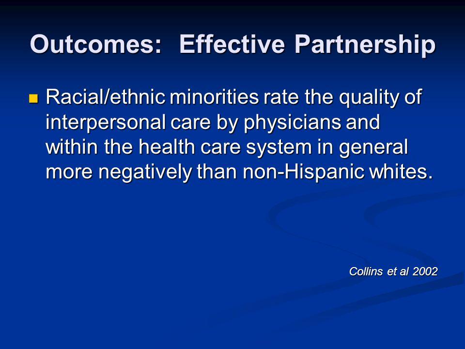 Outcomes: Effective Partnership