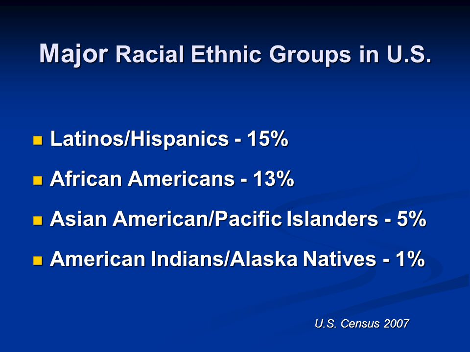 Major Racial Ethnic Groups in U.S.
