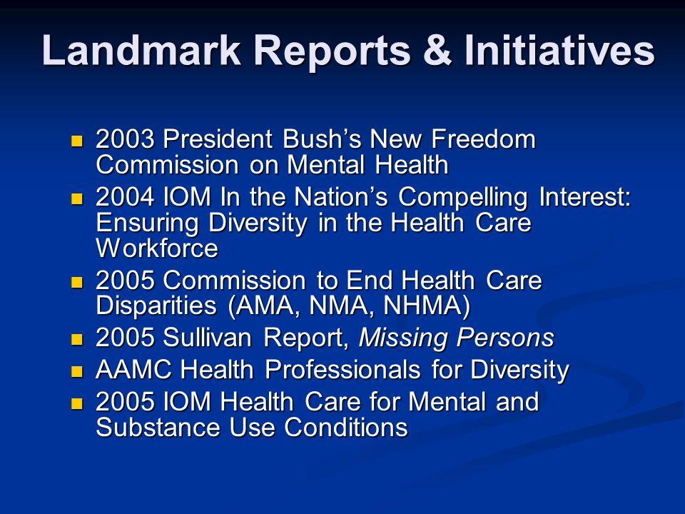 Landmark Reports & Initiatives