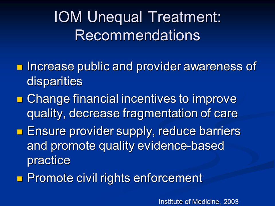 IOM Unequal Treatment: Recommendations